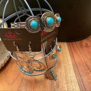 4pc Paparazzi Jewelry Hammered Silver Turquoise